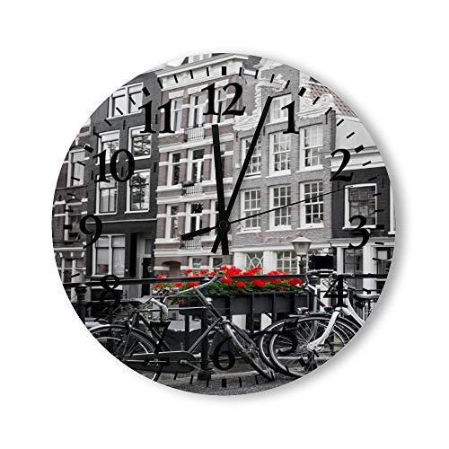 DKISEE Reloj de pared redondo de madera para dormitorio, sala de estar o casa, silencioso y sin garrapatas, con diseño de bicicletas en la calle de Ámsterdam