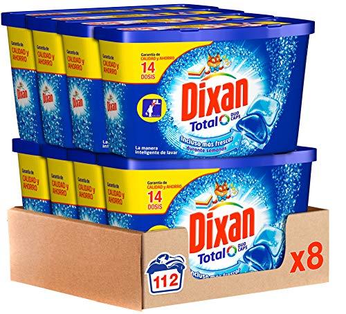Dixan Detergente en Cápsulas, 8 cajas de 14 Dosis, total 112 lavados