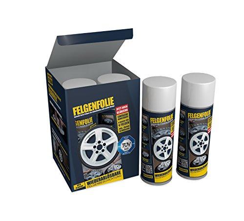 mibenco 61001202 FELGENFOLIE Set, 4 x 400 ml, Weiß Glänzend - Original 4er Set - Flüssiggummi / Sprühfolie - Farbe und Schutz zum Felgen lackieren