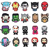 20 Pcs Superhero Cartoon Shoe Charms for Croc Wristband Bracelet with Holes,Clog Pins Accessories Charms for Kids Boys Girls Teens Party Favor Birthday Easter Basket Eggs Gifts