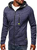 Mens Casual Long Sleeve Hoodies Fleece Full Zip Velvet Plain Colour Hoody Hooded Sweatshirt Work Wear Jacket Tops Navy, XL