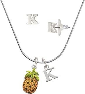 Silvertone Enamel Pineapple - Initial Charm Necklace and Stud Earrings Jewelry Set