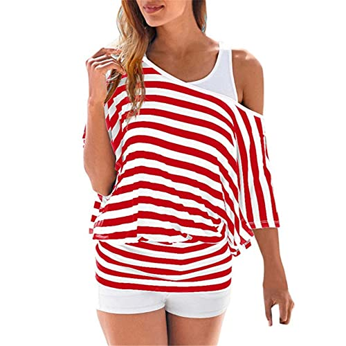 Women T-Shirt Short Sleeve Striped Splicing Fashion Elegant Women Tops Summer Loose Sandy Beach Vacation Travel Women Shirt Comfortable Soft All-Match Women's Tops B-Red L