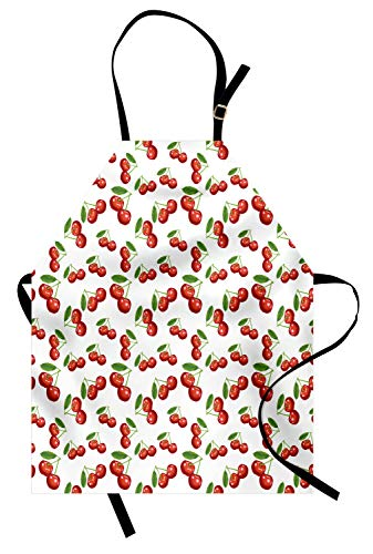 ABAKUHAUS Fruit Tablier, Motif Cerise Fruit, Produit Unisexe avec Col Réglable pour Cuisine et Jardinage, Blanc Vermilion Vert