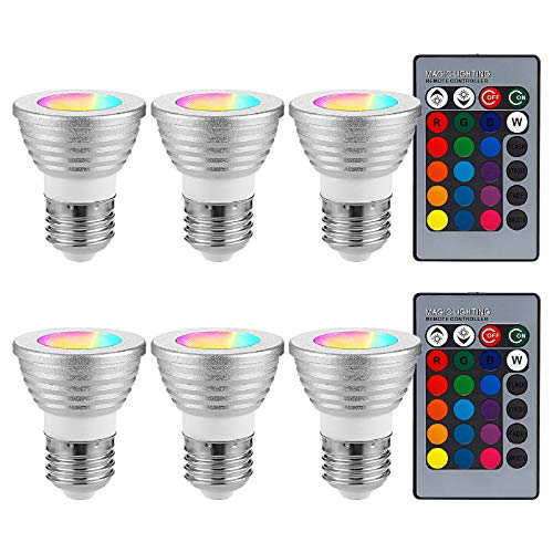 TORCHSTARRGBLEDLightBulbsDimmable,ColorChangingRGBLightBulbwithRemote,40WEquivalent400LM,3WE26ScrewBase,16Colorsand4MoodsDecorativeLEDLights,Silver,Packof6