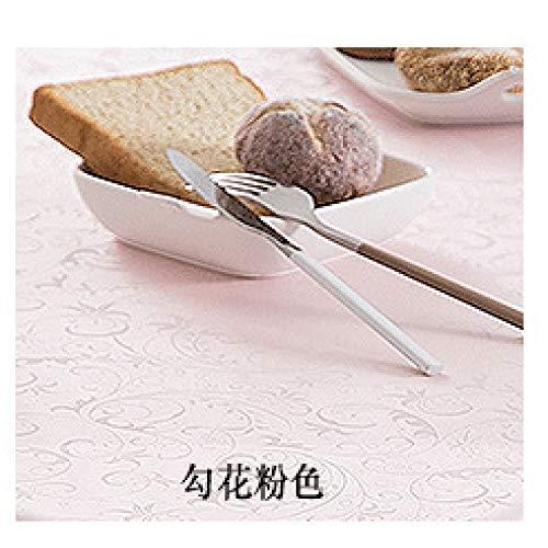 ShiyueNB Europees tafelkleed, waterdicht, anti-verbranding, oliebestendig, wegwerp, PU-tafelkleed, hotel, restaurant, groot rond tafelkleed, tafelkleed 360cm (Spleißen) Haak bloem roze