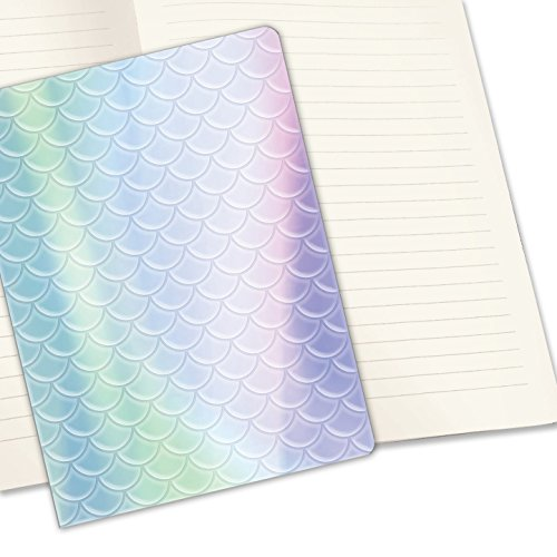 Studio Oh! Hardcover Medium Coptic-Bound Journal Available in 10 Designs, Holographic Mermaid Scales