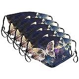 Skang 5 Stück Damen Mundschutz mit Motiv Schmetterling Baumwolle Stoff Waschbar Atmungsaktiv Staubdichte Mund und Nasenschutz Halstuch Bandana Elegant