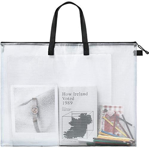 Art Portfolio Bag Poster Storage Bag Board Holder Bag with Handle and Zipper 19 x 25 Inch Organizer Transparent Bag for Large Posters, Poster Board, Painting, Bulletin Boards (Black)