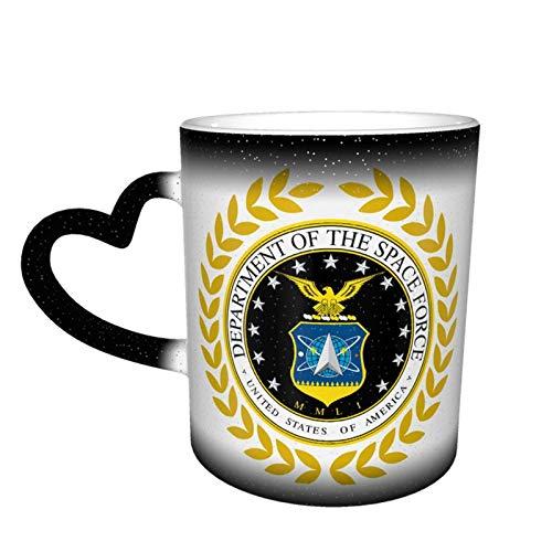 Hdadwy Taza mágica de café en forma de corazón con cambio de color de la fuerza espacial de los Estados Unidos