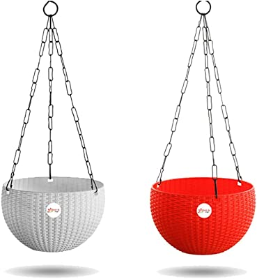 Kraft Seeds Hanging Planter Euro Elegance Round Solid Look and Feel Pots for Home & Balcony Garden 17.5cm Diameter (Pack of 2) - Colorful Set