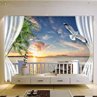 HGFHGD 3Dサンセット壁紙エクステリアウィンドウデコレーションウォールペインティングリビングルームベッドルーム写真背景ウォールステッカー壁画ウォールアート