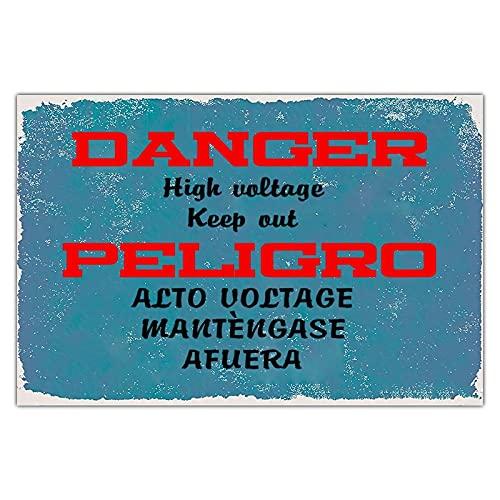 Cartel de metal personalizado con peligro de alto voltaje, estilo vintage, para decoración de jardín, rectangular, de aluminio, fácil de montar, azul, 30,5 x 20,3 cm