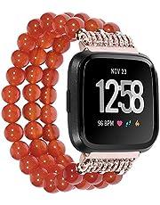 SmartWatch Polsband, Compatibel met Fitbit Versa Strap 22MM, Handmade Agate Vervanging Bands voor Fitbit Versa