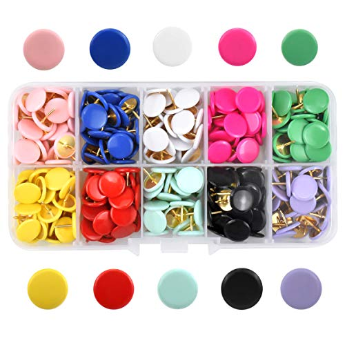 300 Pcs Colorful Push Pins Round Thumb Tacks Metal Drawing Pins Decorative Map Tacks Pushpins with Plastic Coated Head for Map Drawing Cork Notice Board Marking Home Office, 10 Bright Colors