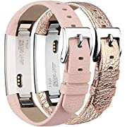 Tobfit Fitbit Alta Strap Alta HR Straps Leather Stainless Steel Secure Buckle Replacement Band for Fitbit Alta and Alta HR (Pink & Rose Gold)
