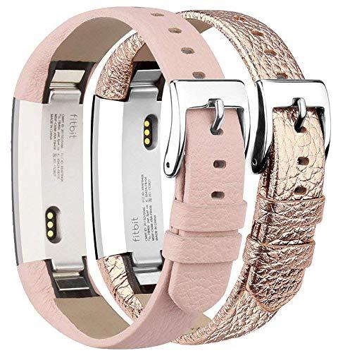 Tobfit Kompatibel mit Fitbit Alta HR Armband, Fitbit Alta Armband Lederarmband Edelstahl Schnalle Ersatzarmbänder für Fitbit Alta und Fitbit Alta HR (Kein Tracker) (Rosa & Rose Gold)