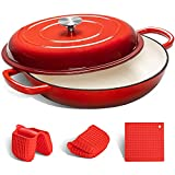 MICHELANGELO Cast Iron Braiser Pan with Lid, 3.5 Quart Enameled Cast Iron Casserole Dish, Covered Shallow Dutch Oven Enamel Cast Iron Cookware with Silicone Accessories, Oven Safe Braiser-Cherry Red
