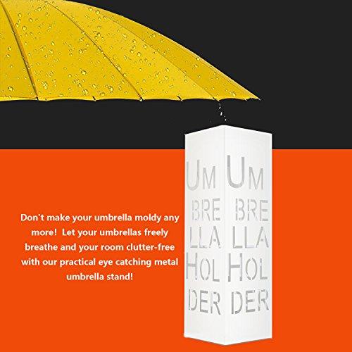 Reliancer 21.65'' Metal Umbrella Stands Racks Free Standing Umbrella Holder Square Door Entryway Umbrella Walking Canes Organizer Indoor Home Office Decor w/Two Hooks (Letter Pattern, White)
