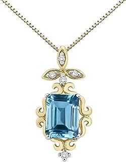 Best emerald cut aquamarine pendant Reviews