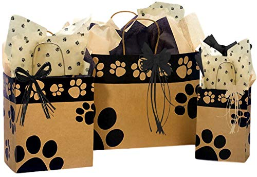 Gift Bags Assorted Sizes - 3 Bundled with Coordinating Tissue Paper and Raffia Ribbon (Kraft Paws)