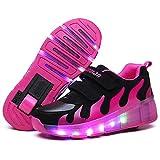 Calababa JD031 Zapatos LED para niños 2019 con Cesta de Carga USB, Zapatos con luz para niños y niñas, Zapatillas Luminosas Doradas Plateadas