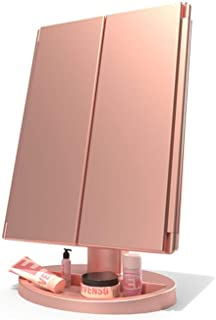 WEECOC 化粧鏡 LED三面鏡 化粧ミラー 鏡 女優ミラー led付き 明るさ調節可能 折りたたみ式 180度回転 電池&USB 2WAY給電【10倍拡大鏡付き】 (ピンク)