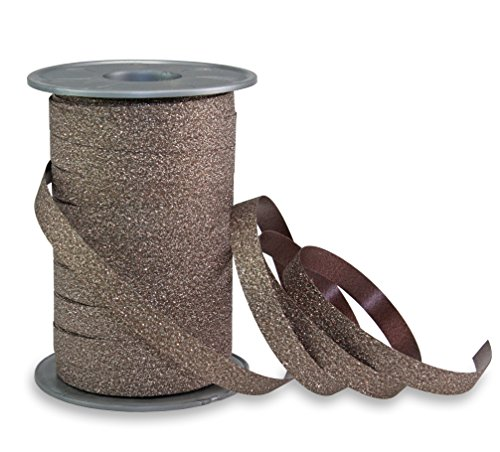 Präsent - POLY GLITTER Ringelband - braun - 100-m-Spule 10 mm