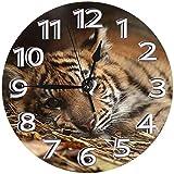 AZHOULIULIU Co.,ltd Reloj de Pared de círculo Decorativo de Reloj de PVC de Tigre Aburrido