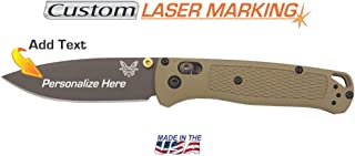 Custom Laser Engraved Benchmade Bugout Knife Fine Edge Blade 535GRY-1