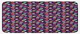 ABAKUHAUS Submarino Tapete para Cocina, Dibujos Animados Acuario Animales, con Superficie de Felpa Estampada Dorso Antideslizante, 48 cm x 120 cm, Multicolor