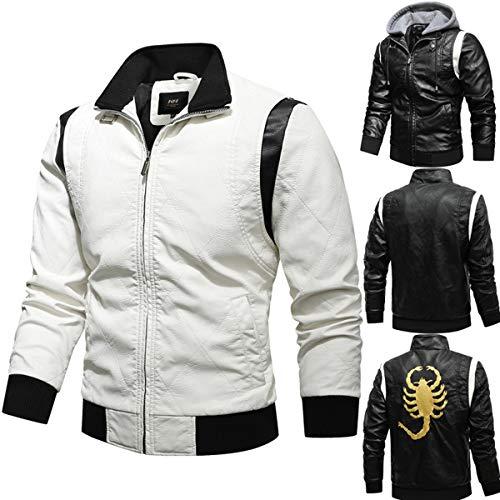 JJZXX Herren Frühling Herbst Mantel Mit Kapuze Kunstleder Bekleidung Lederjacke Stehkragen Outdoor Skorpion (White,Medium(XL))