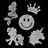 EKOI Iron on Patches for Mask Unicorn Smiley Face Emoji Princess Crown Mermaid Little Pony Shaped Glitter Crystal Bling Rhinestone Applique Decal Heat Transfer Fabric Clothing Jacket Jeans Kid Girl
