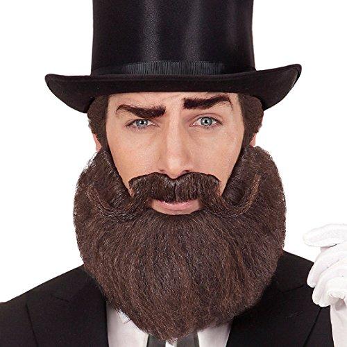 Amakando Barba Postizo Caballero - Marrn | Barba con Bigote | Mostacho Falso | Accesorio Disfraz Abraham Lincoln