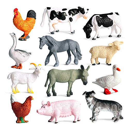 SIENON 12Pcs Mini Farm Animal Figurines, Realistic Farm Animal Figures Toys, Plastic Farm Barn Animals Playset, Miniature Farm Animal Toys Cake Topper, Educational Learning Toy Set for Kids Toddlers