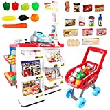 DQQ 32 Piece Cash Supermarket Playset with Working Scanner Register Shopping Cart Play Money Pretend Play Set Toys Accessories for Kids