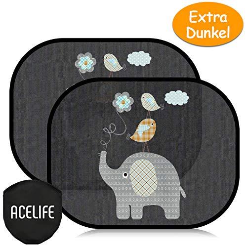 AceLife Auto Sonnenshutz Baby, Extra Dunkle Universeller Auto Sonnenblende 2 Stück mit UV Schutz, Selbsthaftende Sonnenblenden für Kinder, Autofenster Sonnenschutz + Tasche (Elefanten)