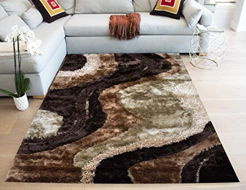 LA Shag Shaggy Hand-Woven Hand-Tufted 3-Dimensional Decorative Designer Modern Contemporary Plush Pile Canvas Backing 8-Feet-by-10-Feet Polyester Made Area Rug Carpet Rug Brown Tan Beige Colors