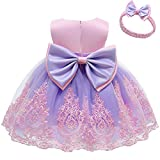 Bowknot Baby Girl Baptism Christening Ball Gown Dresses Toddler Wedding Bridesmaid Clothes Christmas Lace Tutu Dress 5T 6T Pink Purple 120