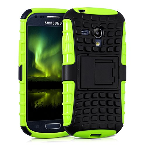 kwmobile Hybrid Outdoor Hülle für Samsung Galaxy S3 Mini i8190 mit Ständer - Dual TPU Silikon Hard Case Handy Hard Cover in Neon Grün