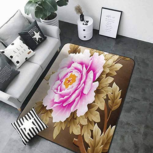 Large Floor Mats for Living Room Pink and White Fubuki Dahlia Over red and White Santa Claus Dahlia 80'x 120' Bath Rugs for Bathroom