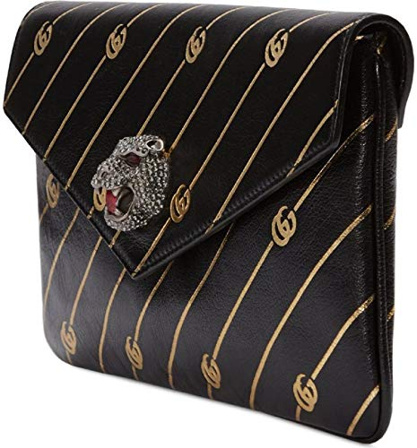 Fashion Shopping Gucci Black Broadway Animalier GG Archive Leather Envelope Clutch