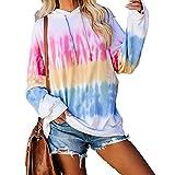 skiyy Sweat Capuche Femme Tie Dye Casual Haut Automne Hiver Manches Longues Sweatshirt Pas Cher Hoodie Fille Lâche Décontrcté Pullover
