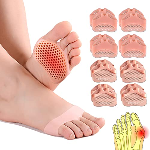[8er Pack]fußpolster mittelfuß pads, Silikon-Fußpolster, Knochenpolster, atmungsaktives und weiches Gel-Vorfußpolster, geeignet für Diabetiker, Schwielen, Blasen und Vorfußschmerzen.