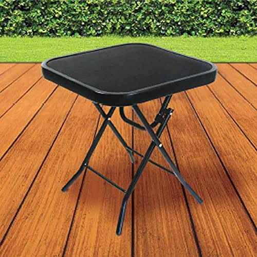 Small Black Folding Side Glass Top Patio Table | 40cm x 40cm x 46cm Outdoor Garden Drinks Table For BBQ's, Parties, Camping