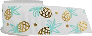 Amosfun Ribbon Roll Pineapple Print Grosgrain for DIY Handmade Festival Wedding Party Birthday Bridal Shower Decoration 25mm (White)