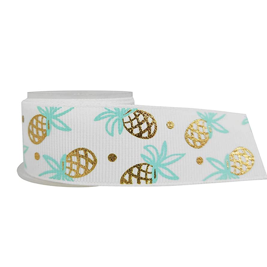 Amosfun Ribbon Roll Pineapple Print Grosgrain for DIY Handmade Festival Wedding Party Birthday Bridal Shower Decoration 25mm (White)