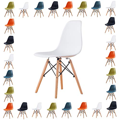 Volitation Plastic Chairs Retro Side Dining Office Lounge Chair Plastic Seat with Wood Legs, One Chair (White)