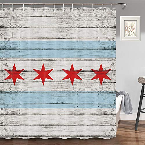 JAWO Chicago State Flag Shower Curtain, City of Chicago Flag with High Rise Buildings on Rustic Wooden Bathroom Decor, Bathroom Accessories Set, Fabric Bathroom Curtain Set with Hooks, 70 in