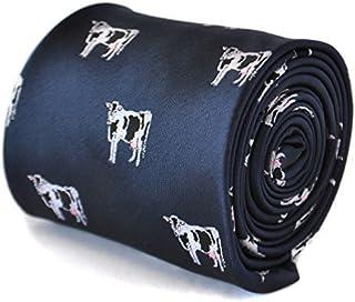 Frederick Thomas navy blue tie with cow design